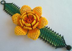 Mexican Huichol Beaded Flower Bracelet by Aramara on Etsy Seed Bead Bracelets, Seed Beads, Mexican Designs, Beaded Crafts, Native American Beading, Flower Bracelet, Beaded Flowers, Bead Art, Bead Weaving