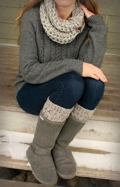 see more Adorable grey combination of woolen jaket ,scarf and winter boots with blue jean