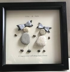 Handcrafted made to order pebble art pictures. Available in either black or white 20x20 cm box frame. Personalised to suit - Sisters/cousins/best friends Names and quotes of your choice Most orders depending will be made and posted within 1 week but the closer we get to xmas the