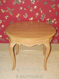 Ethan Allen Country French Bisque Collection Birch Wood Oval End Table 26  8313 #EthanAllen
