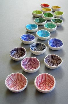 Use for test tiles! write glaze on back! Mairi Stone ~ Micro porcelain bowls