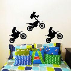Wall Decals Jump Moto Bike Jumping Motorcycle Motocross Extreme Sport Kids Children Gift Vinyl Sticker Wall Decor Murals Decal: Amazon.co.uk: Kitchen & Home