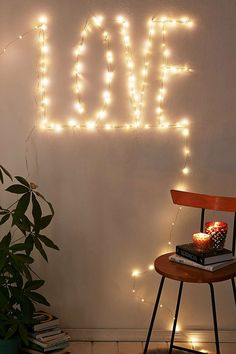 Starry Starry String Lights! • Year Round Home Decor using Christmas lights or firefly lights. • Tons of Tips and Ideas! Including, from 'urban outfitters', they used firefly lights to spell out LOVE.