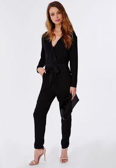 b416076576067 Eyelash Lace Wrap Jumpsuit Navy - Jumpsuits - Evening Jumpsuits - Missguided  Navy Jumpsuit