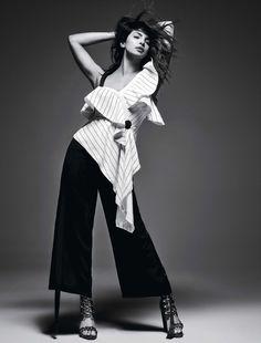Actress Priyanka Chopra poses in Self-Portrait top, Rajesh Pratap Singh pants and Balmain heels