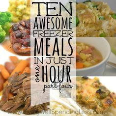 Need a simple dinner solution for busy weeknights? This awesome quick & easy meal plan shows you exactly how to whip up 10 freezer meals in one hour! Make Ahead Meals, No Cook Meals, Quick Easy Meals, Tasty Meals, Real Food Recipes, Cooking Recipes, Meal Recipes, Cooking 101, Gourmet
