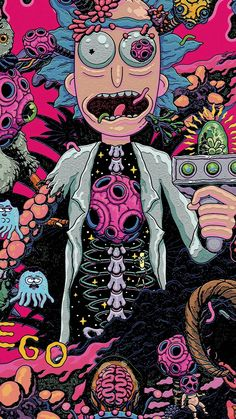 Iphone Wallpaper Rick And Morty, Graffiti Wallpaper Iphone, Pop Art Wallpaper, Hippie Wallpaper, Trippy Wallpaper, Cool Wallpapers Rick And Morty, Rick And Morty Image, Rick I Morty, Trippy Rick And Morty