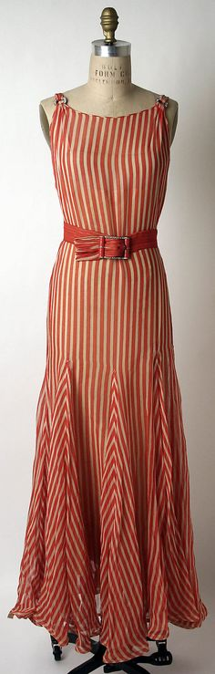 A lovely red and cream stripped Norman Norell evening ensemble, 1932. #vintage #1930s #fashion