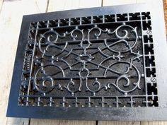 Antique Ornate Cast Iron Wall Floor Heating Heat Register Grate Vent Refurbished   eBay