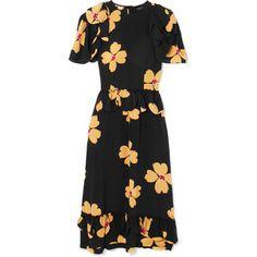 Simone Rocha Ruffled floral-print silk-crepe midi dress
