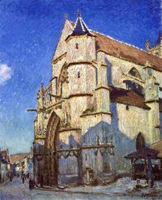 "Alfred Sisley - ""The Church at Moret"" 1894 - Petit Palais, Paris Monet, Web Gallery Of Art, Online Art Gallery, Renoir, Sisley Alfred, Paris, Hall Painting, Impressionist Art, Post Impressionism"
