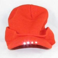 ca49e6f17ef6f 4 LED Headlamp Lighted Brim Knit Cap Lighted Hat   Fishing Hats