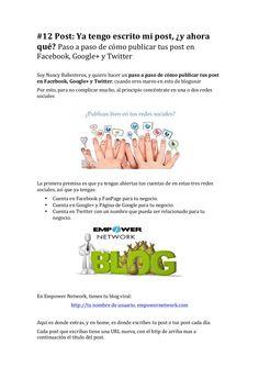 Paso a paso de como publicar facebook, google+ y twitter PDF by Nancy Ballesteros EN Fails, Internet, Marketing, Facebook, Twitter, Google, Step By Step, Make Mistakes