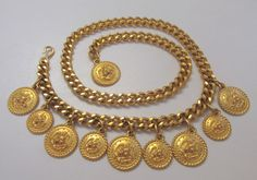 VINTAGE 1970s 80s SIGNED GRAZIANO GOLDEN METAL MEDALLIONS BELT NECKLACE EAGLES