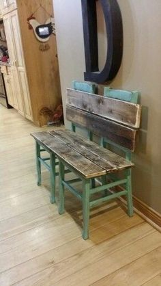 Rustic bench painted and distressed in aqua. Made from old chairs. Rustic bench painted and distressed in aqua. Made from old chairs. Repurposed Furniture, Pallet Furniture, Furniture Projects, Rustic Furniture, Furniture Makeover, Home Projects, Painted Furniture, Metal Furniture, Antique Furniture