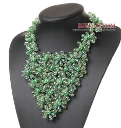Pretty Multilayer Wired Green Series Teardrop Crystal And Round Seashell Pearl Flower Necklace - Bjbead.com