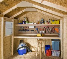 12x8 interior shown. Window, shelf and workbench are optional. Notice the nice pegboard...