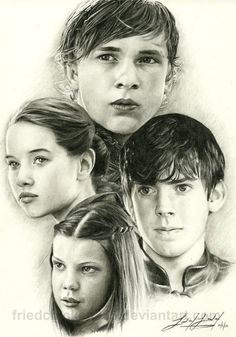 AMAZING drawing of the Pevensies. Wow. I like how Susan truly looks gentle and not snobbish. Ed's face is slightly off, though close enough. :)