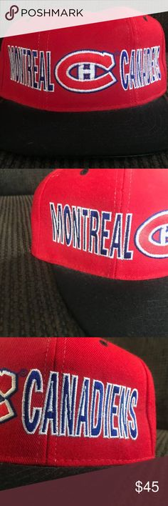 VTG STARTER x MONTREAL CANADIENS SNAPBACK Details: Great new condition! No defects. Red, black, & blue snapback. Green under brim.  Team logo on front. Starter logo on back.  *Ships from US.  *Same or next day shipping.  *First-Class US shipping (delivery in 1 to 3 business days).  *First-Class International shipping (delivery in 7 to 21 business days).  *Tracking # supplied after payment.  FEEL FREE TO MESSAGE ME FOR ANY ITEM! STARTER Accessories Hats