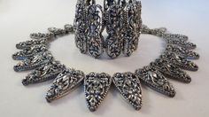 Vtg 50s NAPIER Highly Ornate Necklace  Wide cuff bracelet by DecatiqueStudios, $325.00, women's vintage fashion accessories