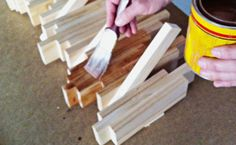 Step 7: Stain.   Once your glue is dry and your racking firmly into place, you can paint or stain it any way you like!