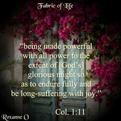 Colossians 1:11 ~ Being made powerful with all power to the extent of God's glorious might so as to endure fully and be long-suffering with joy...
