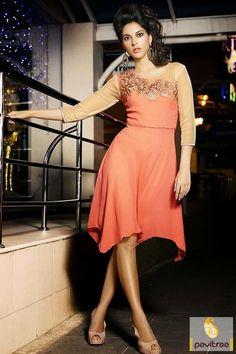 Pavitraa Designer #Orange #Stylish Kurtis