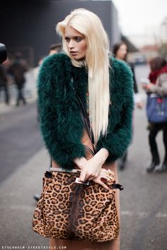 Fuzzy Green Jacket and Leopard Bag