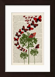 Red Butterflies On Green Flowers Mounted / Matted Ready To Frame Dictionary Art Print. Mounted /Matted and Printed on 1880's French Dictionary. The aging, slightly yellowed pages are carefully removed from the binding, and the image is carefully printed directly on the recycled paper using vibrant colour inks. Page Size 240mm x 155 mm / 6.5 x 9.5 inches. Mount Opening 140 mm x 220mm 5.5 x 8.75 inches. FRAME NOT INCLUDED. Every print comes with a mat/mount which means the final product is...
