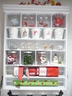 Organizing; esp like the little white buckets w/letters