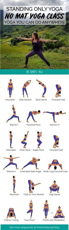 Yoga Without A Mat - Standing Only Printable Class - Motivation Bikram Yoga, Iyengar Yoga, Ashtanga Yoga, Yin Yoga, Vinyasa Yoga, Standing Yoga, Relaxing Yoga, Relaxing Music, Yoga Posen