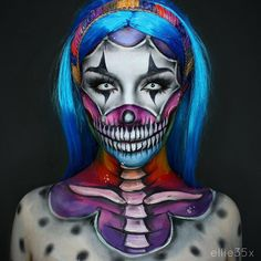 Rainbow Clown💀💘 Using my Paradise Paints and awesome Contacts💕 Costume Halloween, Creepy Halloween Makeup, Amazing Halloween Makeup, Halloween Contacts, Scary Makeup, Clown Makeup, Halloween Looks, Skull Makeup, Sfx Makeup