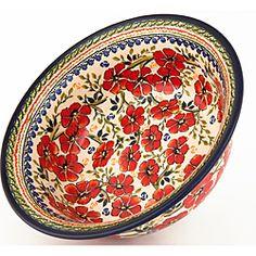 In Luv..... hand painted red flowers!  Brand: Z.C Boleslawiec
