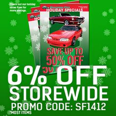 Save up to 50% off selected items. #mustangsplus   #mustangs   #holidayshopping   #holiday   #musclecars   #stockton  #209