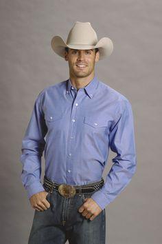 Stetson Mens Blue 100% Cotton L/S Button Down Pinpoint Oxford Western Shirt