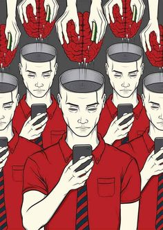Illustrations That Take a Tongue-in-cheek Look at Technology Addiction in Today's Society pics) Banksy, Technology Addiction, Illustrator, Street Art, Satirical Illustrations, Satirical Cartoons, Psychedelic Art, Les Oeuvres, Pop Art