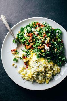 Goat Cheese Scrambled Eggs with Pesto Veggies #eggs #breakfast #pesto
