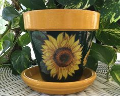 Excited to share this item from my shop: Sunflower Flower Flower Pot with Saucer Sunflower Planter Garden Sunflower Pot Pottery Sunflower Pa Painted Clay Pots, Painted Flower Pots, Planting Flowers, Sunflower Flower, Sunflower Garden, Sunflower Design, Decorated Flower Pots, Flower Pot Design, Calla Lilies