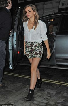 Stepping out: Emma Watson was seen putting on a stylish display during a night out in London on Saturday night
