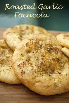 Italian Food Forever Roasted Garlic Focaccia these look so good. if only i could master yeast. I Love Food, Good Food, Yummy Food, Italian Dishes, Italian Recipes, Italian Foods, Great Recipes, Favorite Recipes, Cooking Recipes