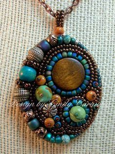 WAY OUT WEST - Bead Embroidery Pendant in Southwest Colors -beautiful