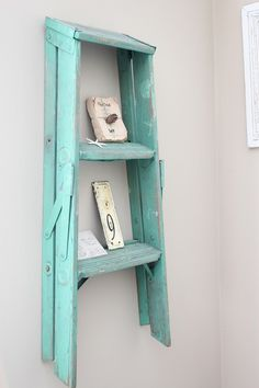 Usable antiques - ladder as shelf