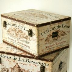 vintage French wine boxes.  Wo, I think I really, really want these