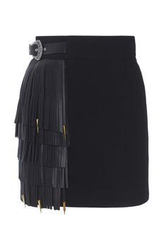 Юбка из шерсти и кожи Fausto Puglisi - Эффектная юбка-мини черного цвета из коллекции итальянского бренда Fausto Puglisi в интернет-магазине модной дизайнерской и брендовой одежды