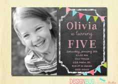 Birthday Girl Invitation  Custom Chalkboard by DesignBugStudio, $12.00 - Just made the purchase. Love this design <3