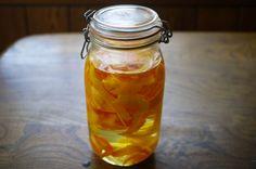 Homemade orancello liqueur