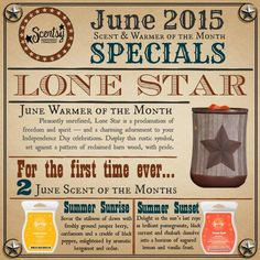 June Scentsy Warmer of the month, Lone Star, along with 2 Scent of the Month fragrances, Summer Sunrise and Summer Sunset.