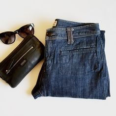 """Free People Flare Leg Jeans Not your typical jeans. Perfect condition. 2% Spandex   Great front pockets. Perfect to dress up with heels. Waist a little over 29"""" laying flat, rise 9.25"""", inseam 29"""", and leg opening about 11.5"""". Free People Jeans Flare & Wide Leg"""