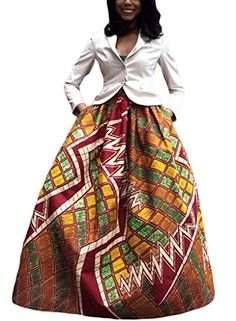 Annflat Women's African Floral Print Maxi Skirts A Line Long Skirts With Pocket(S-2XL) - http://www.darrenblogs.com/2017/03/annflat-womens-african-floral-print-maxi-skirts-a-line-long-skirts-with-pockets-2xl/