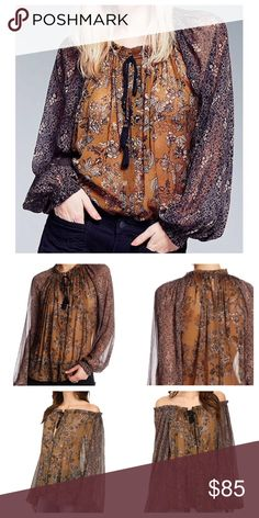 Free People Floral Blouse - Split neck with tassel ties - Long blouson sleeves - Floral print - Semi-sheer design  Fiber Content 100% nylon Care Machine wash.  /////NWOT//// Free People Tops